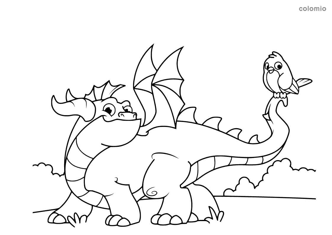 Cute dragon with bird coloring page