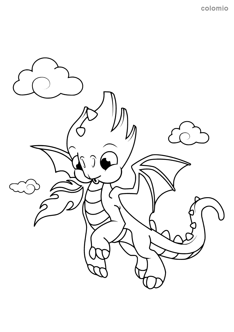 Cute flying dragon coloring page