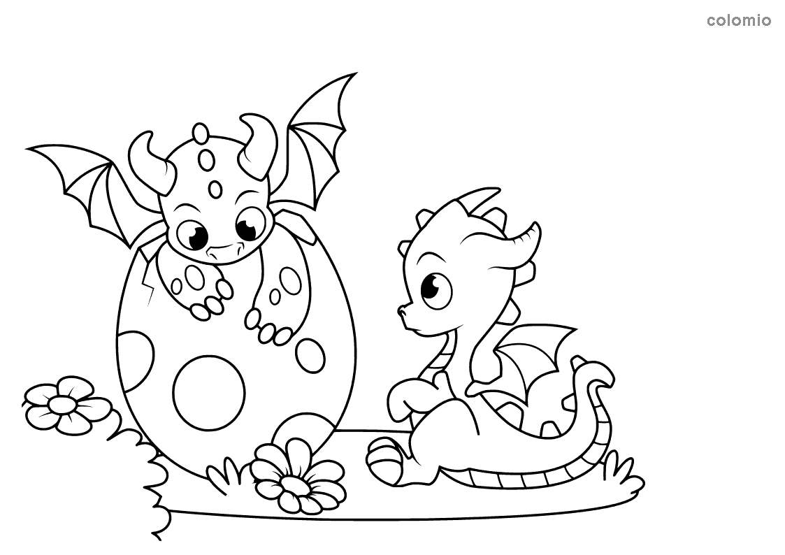 Dragon babies with an egg coloring page