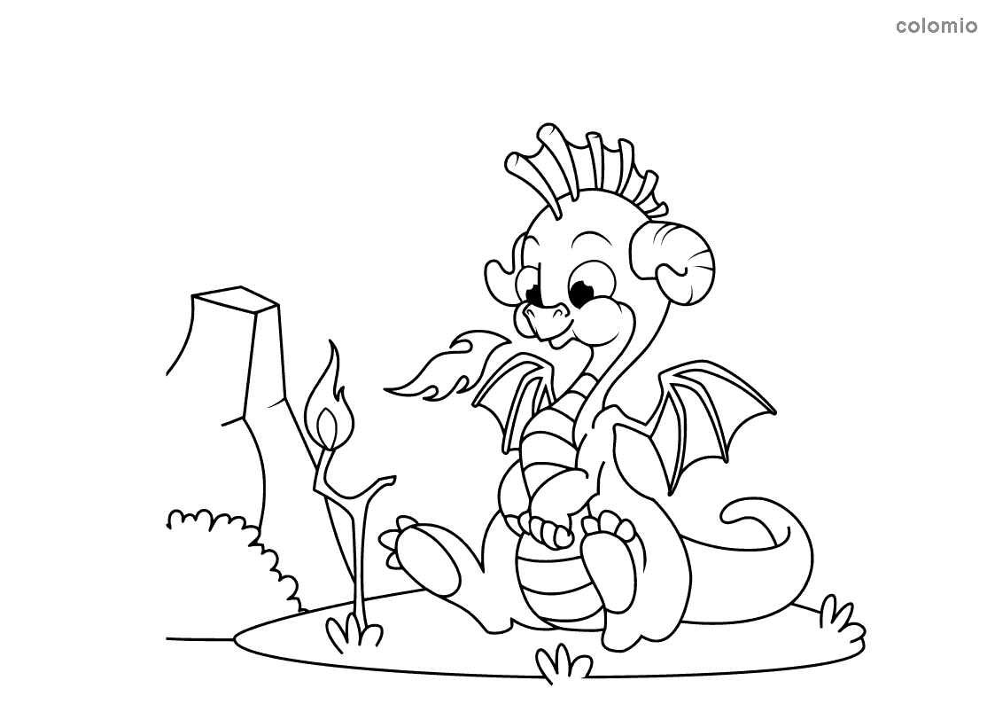 Dragon makes fire coloring page