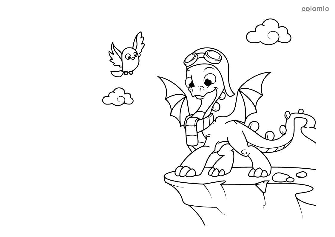 Dragon on a cliff coloring page