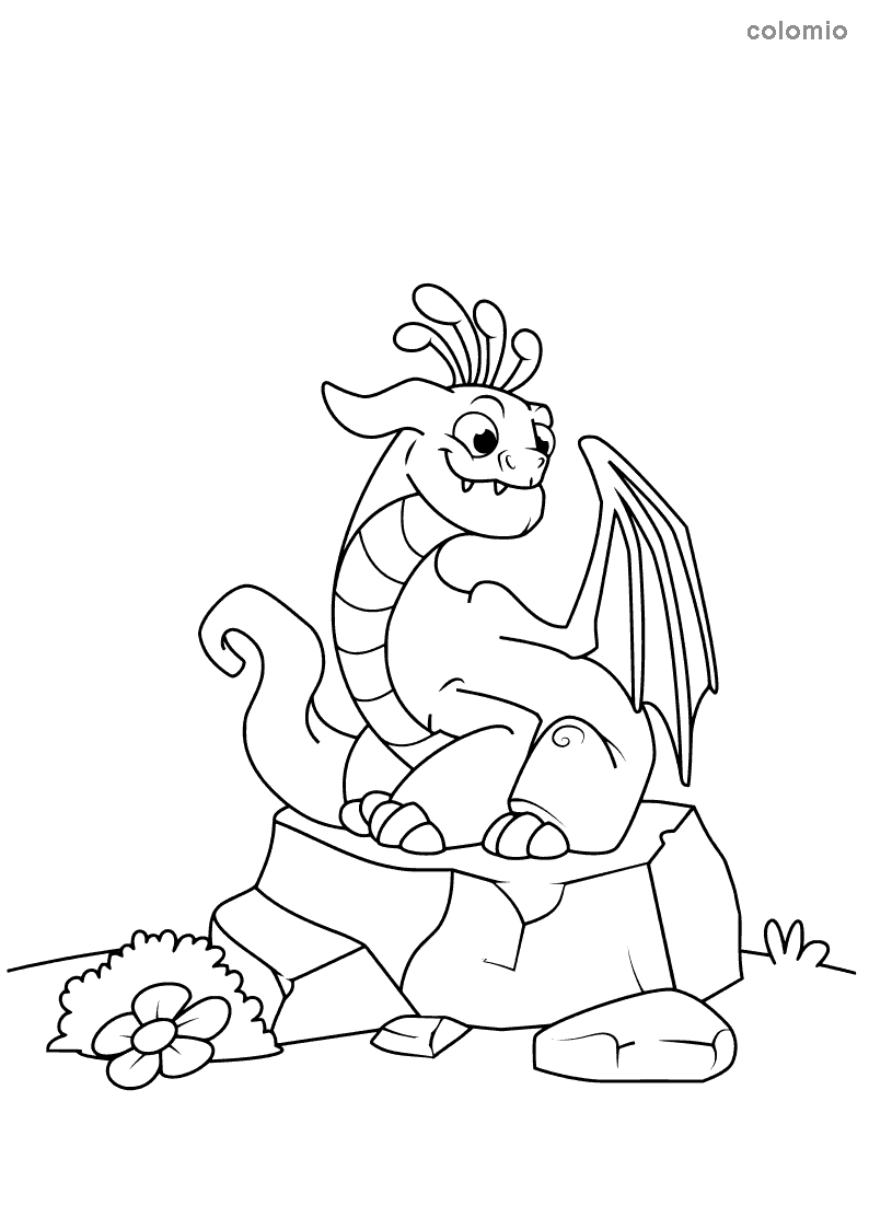 Dragon on a stone coloring sheet
