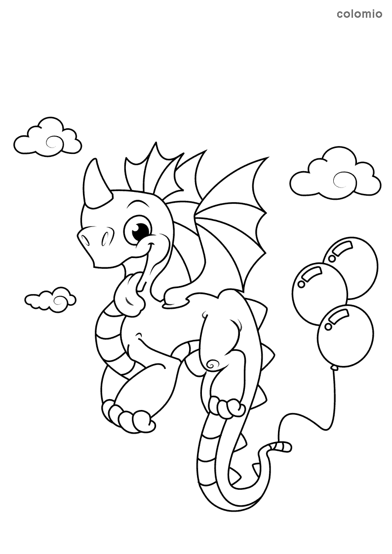 Dragon with balloons and clouds coloring page