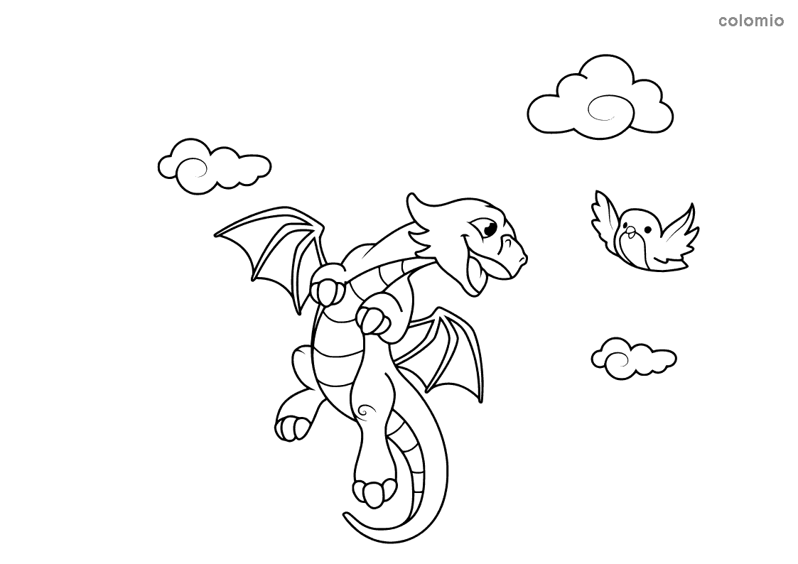 Dragon with bird and clouds coloring sheet