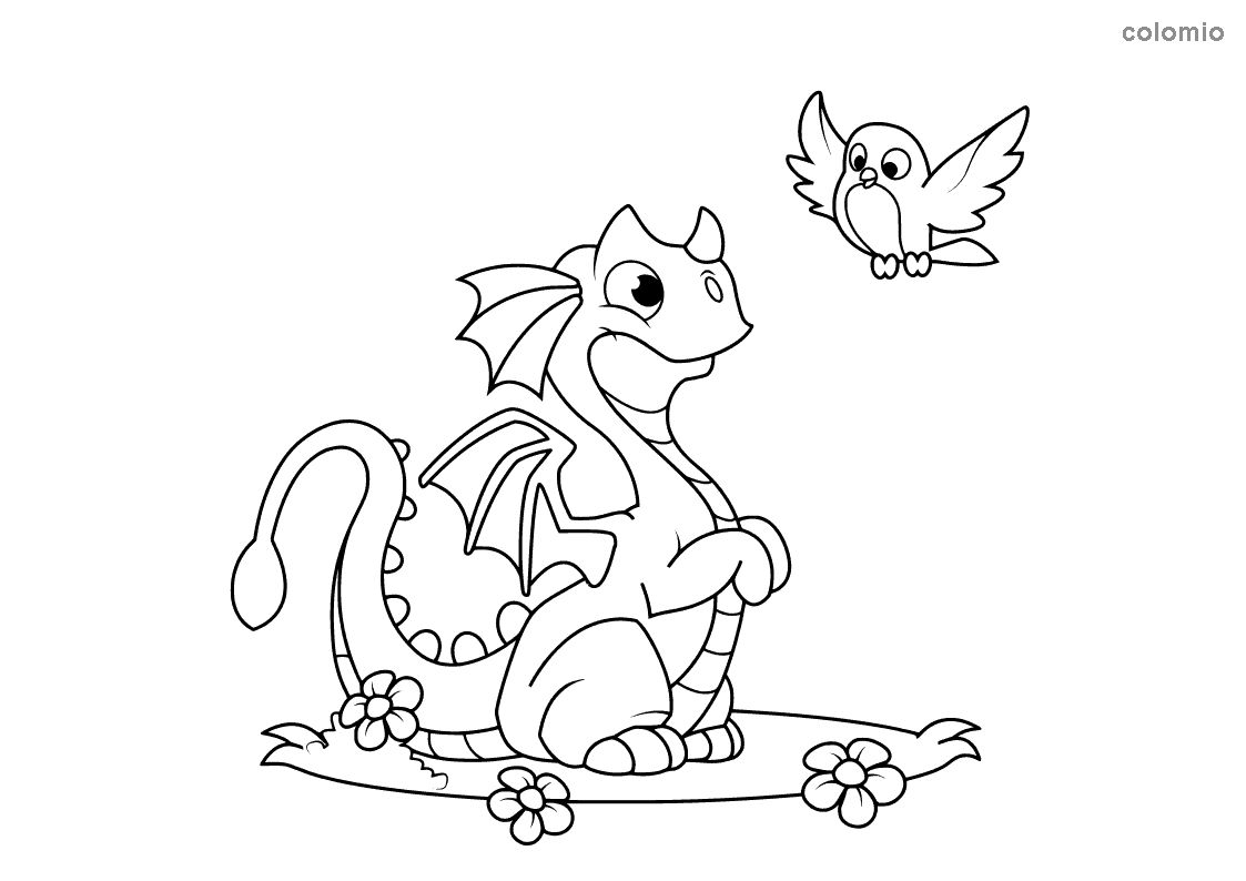 Dragon with bird and flowers coloring page