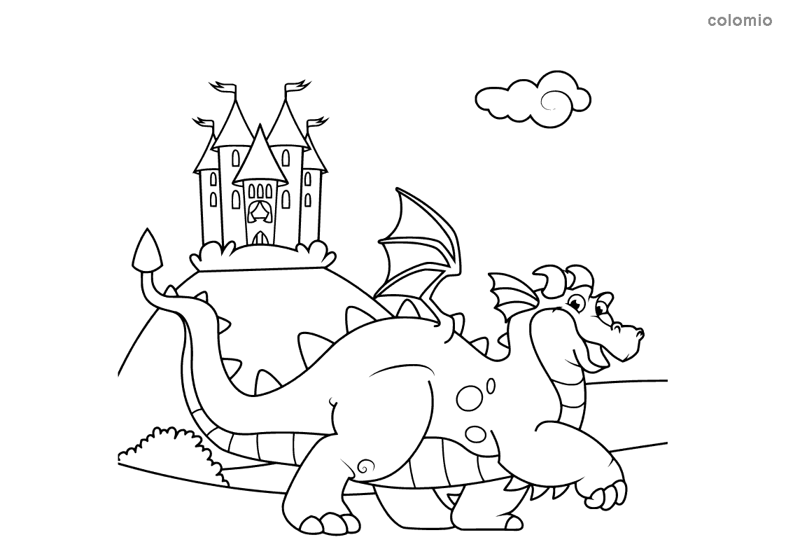 Dragon with castle coloring page