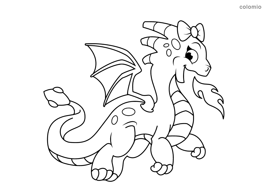 Dragon with fire and bows coloring page
