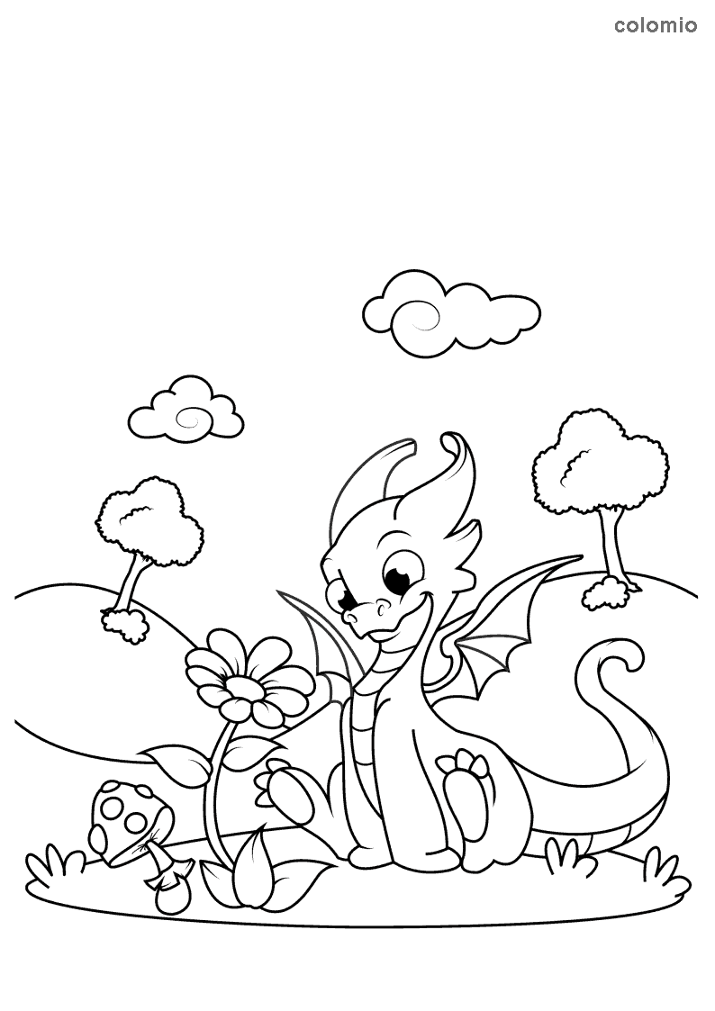 Dragon with flower coloring sheet