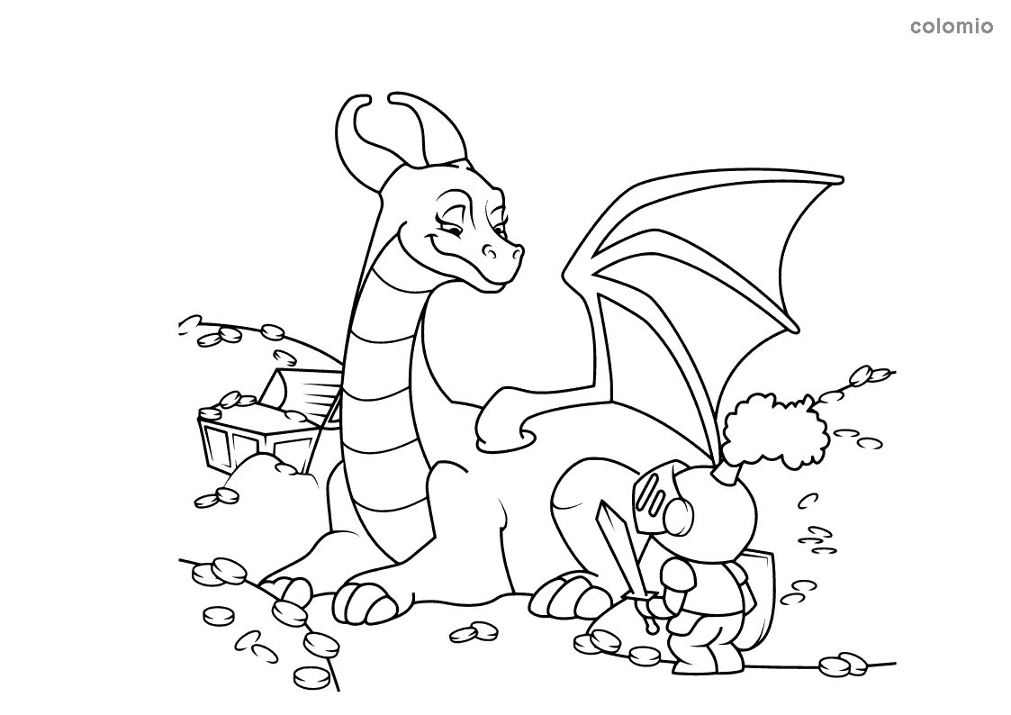 Dragon with knight coloring page