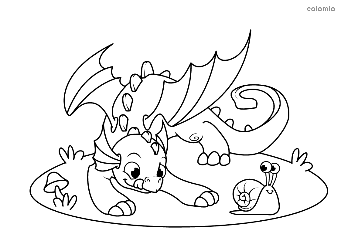 Dragon with snail coloring page