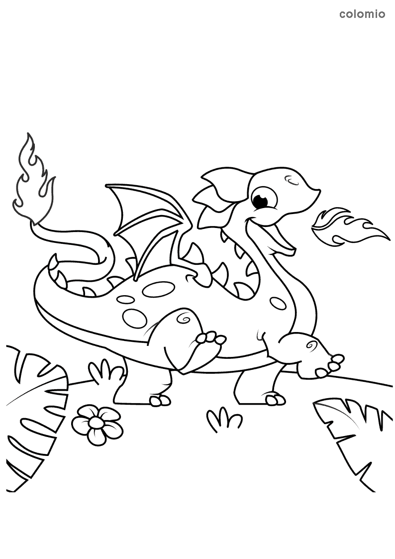 Fire-spitting dragon coloring page