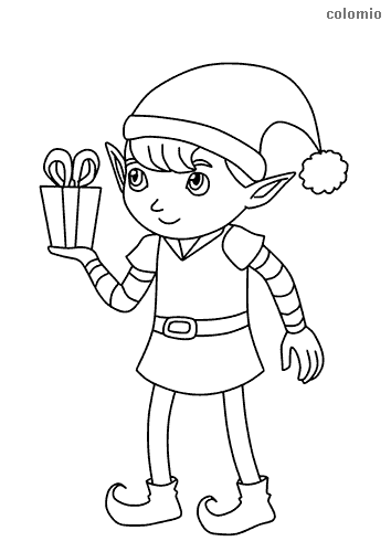 Cute elf with gift coloring page