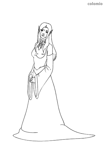 Elf with garment coloring page