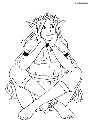 Smiling elf with flowers coloring sheet
