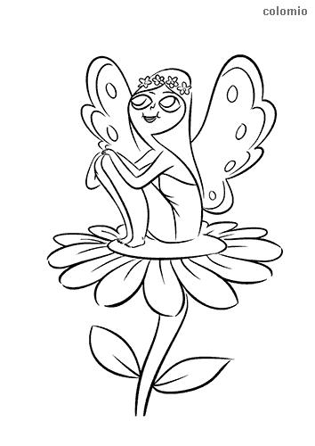 Dibujo de Hada pequeña en una flor para colorear