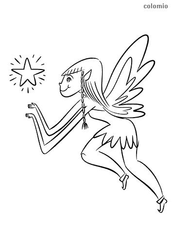 Dibujo de Hada con estrella para colorear