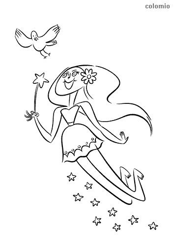 Fairy with bird and stars coloring page