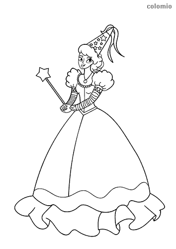 Fairy with magic wand and beautiful dress coloring sheet