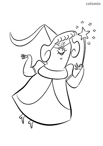 Flying fairy with magic wand and hat coloring page