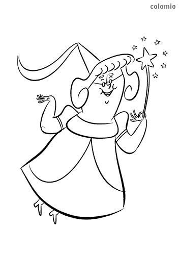 Dibujo de Hada con gafas y varita mágica para colorear