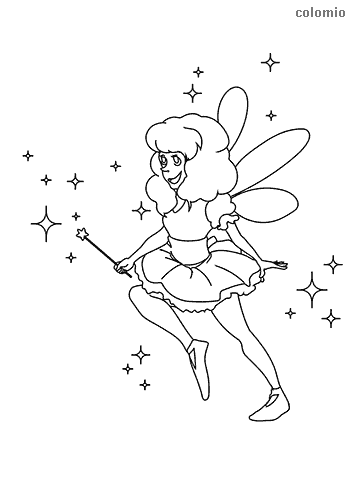 Flying fairy with stars coloring page