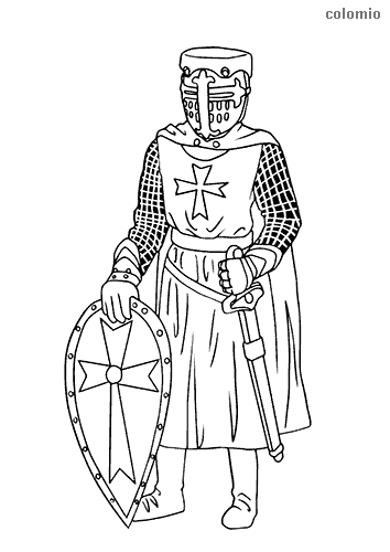 Crusader with shield and sword coloring page