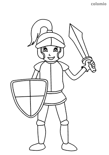 Cute kight with shield and sword coloring page