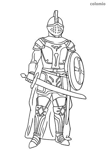 Dibujo de Caballero con espada y escudo para colorear