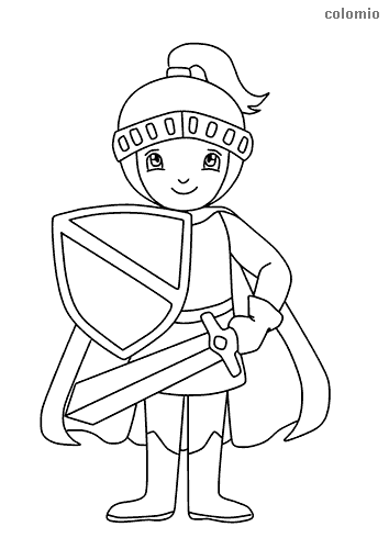 Smiling knight with sword shield and cape coloring sheet