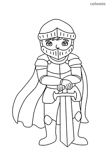 Sweet knight with sword and cape coloring page