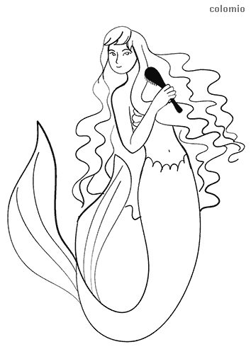 Mermaid with comb coloring sheet