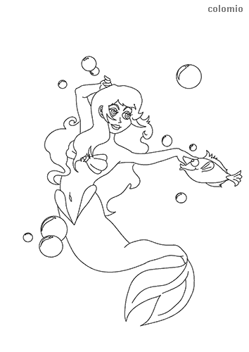 Mermaid with fish coloring sheet