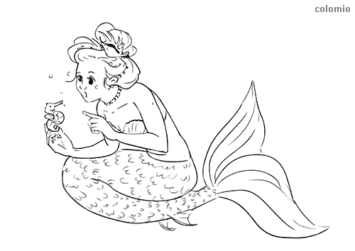 Mermaid with sea ​​horse coloring page