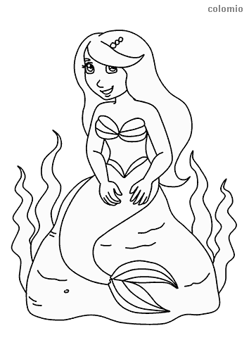 Smiling mermaid on a rock coloring page