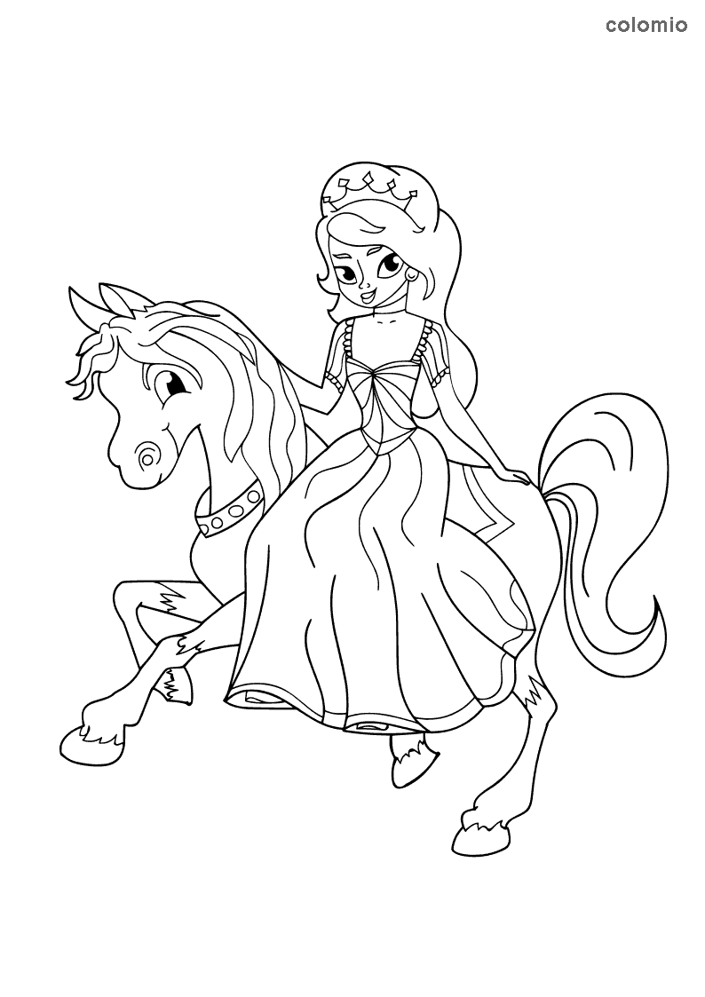 Princess riding a horse coloring sheet