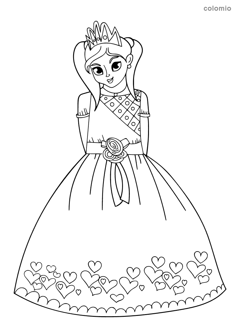 Princess wearing a heart dress coloring page