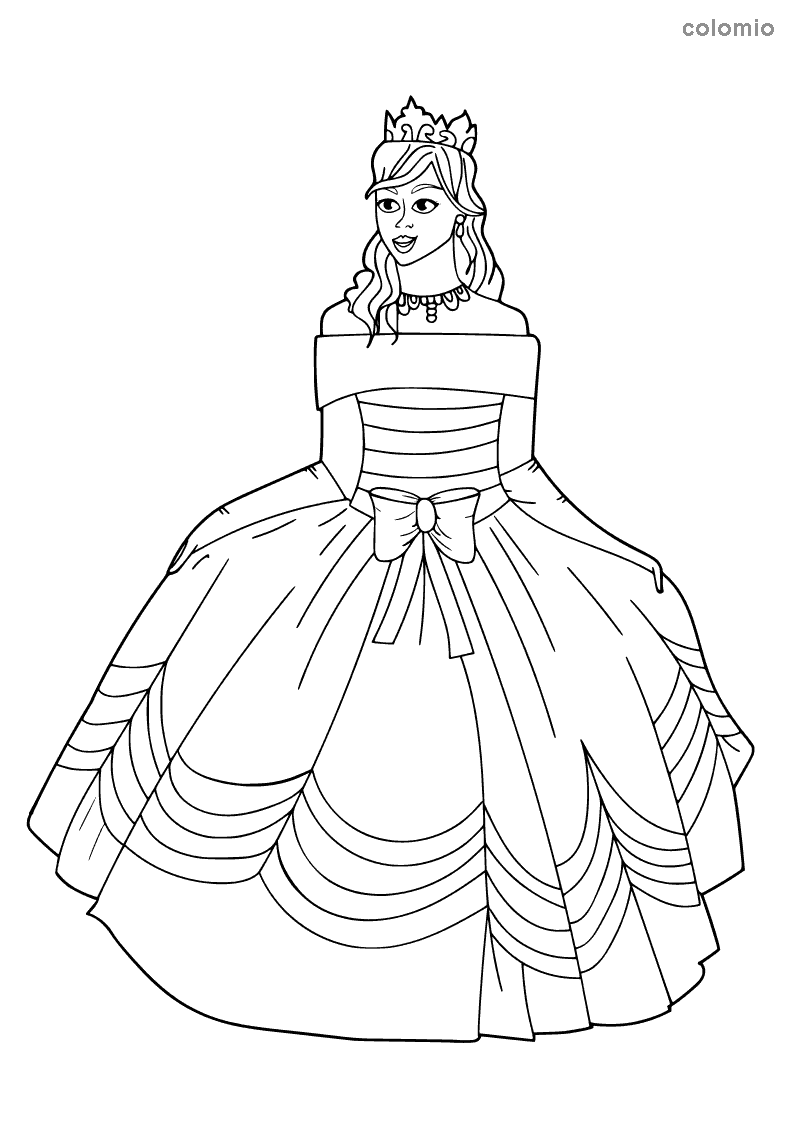Princess with a big bow on her dress coloring page