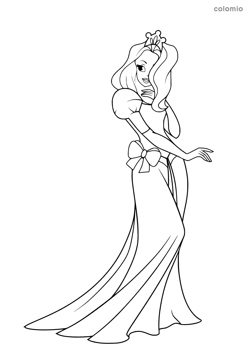 Princess with a big bow coloring sheet