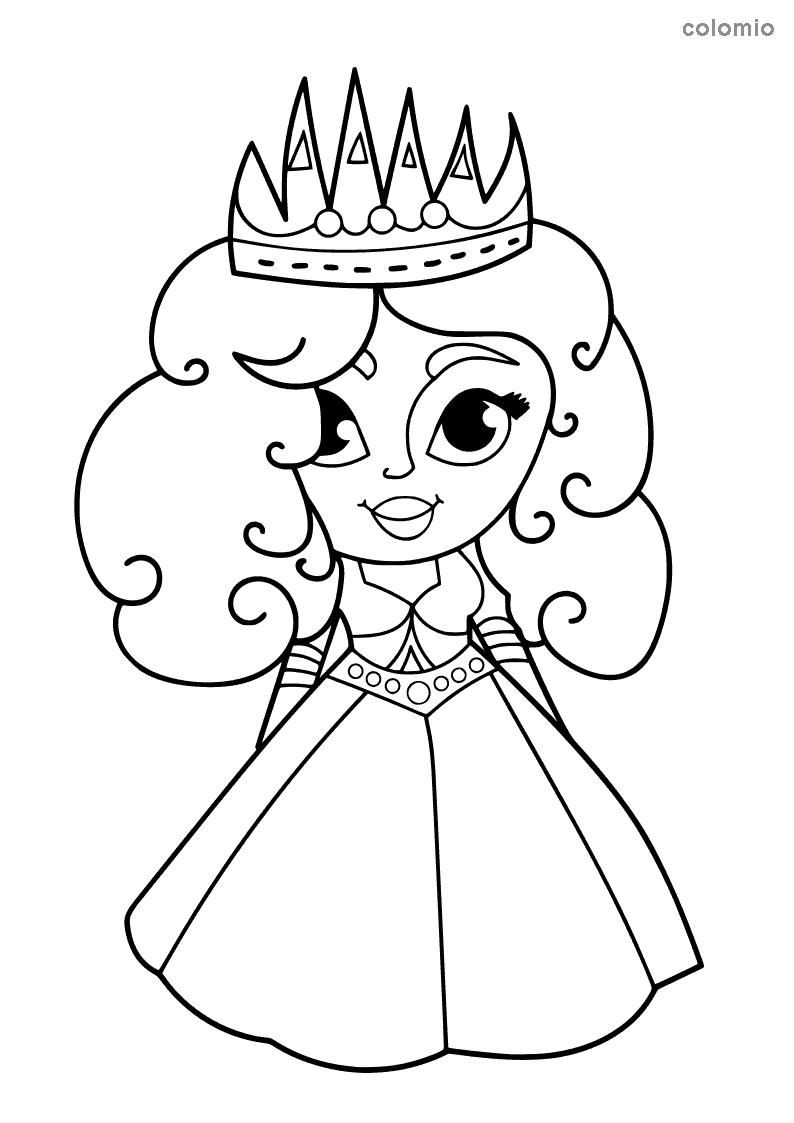 Princess with big crown coloring sheet