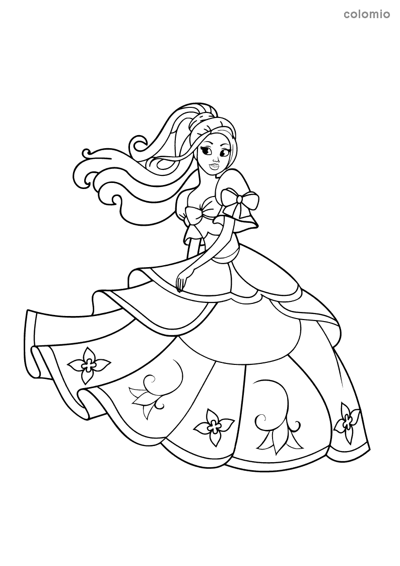 Princess with flower dress coloring page