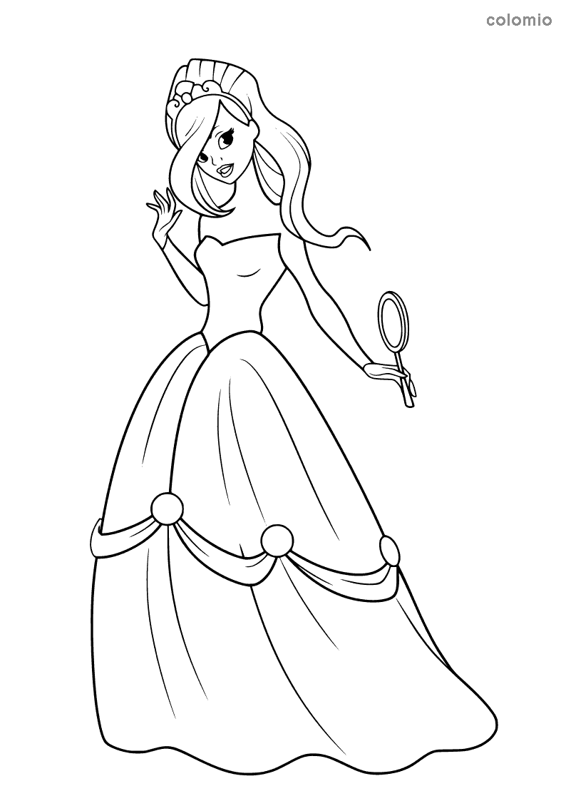 Princess with hand mirror coloring page