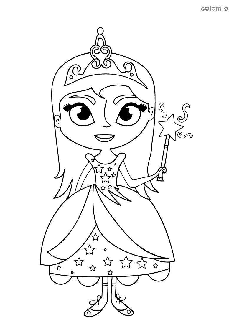 Princess with magic wand coloring page