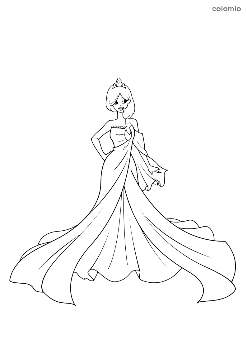 Princess with one-shoulder dress coloring page