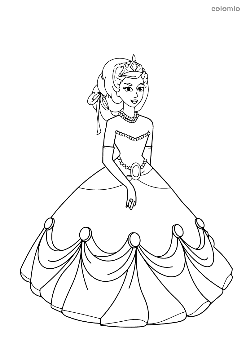Princess with pearl necklace coloring sheet