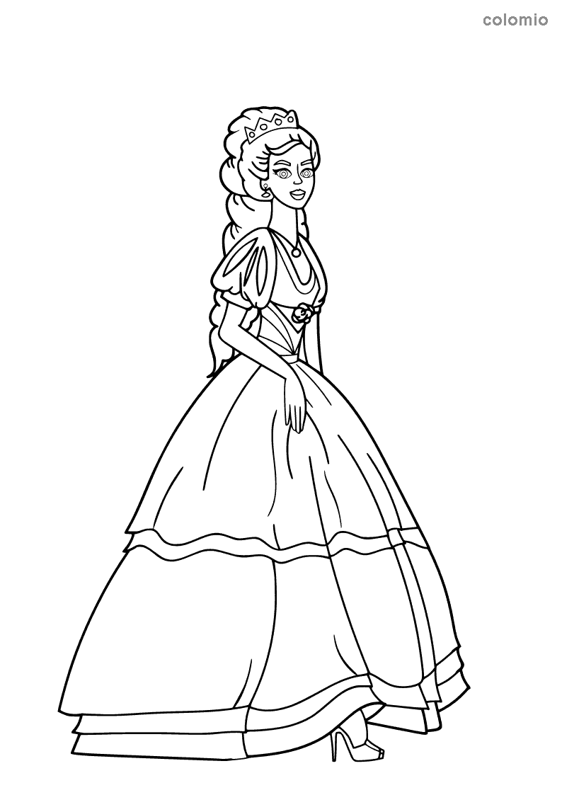 Princess with puffed sleeves coloring sheet