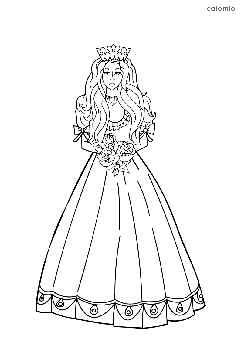 Princess with roses coloring page