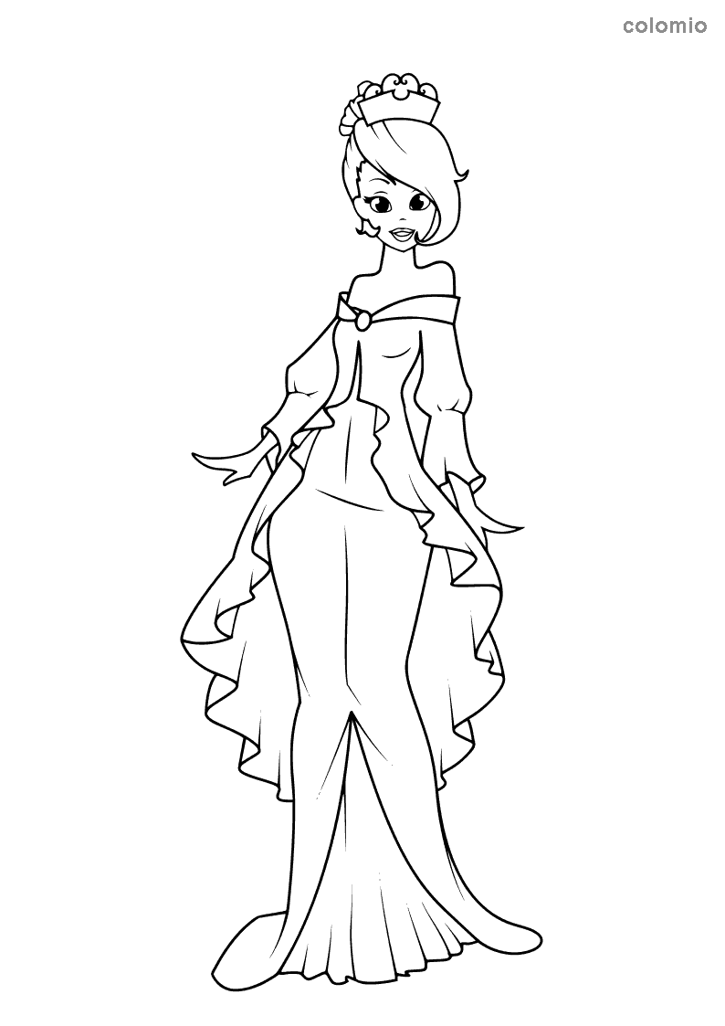 Princess with ruffle dress coloring sheet