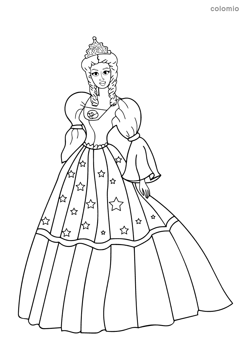 Princess with star dress coloring page