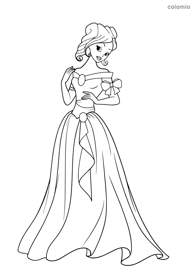 Princess with strapless dress and bow coloring page