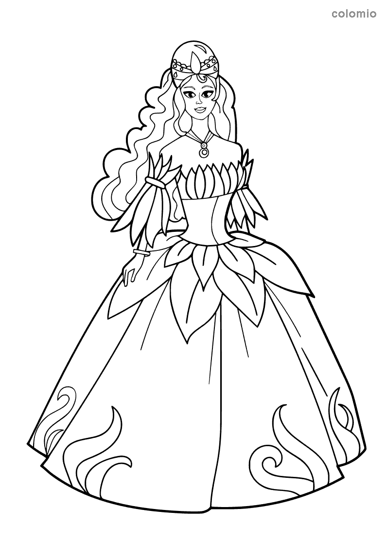 Princess with strapless dress coloring page
